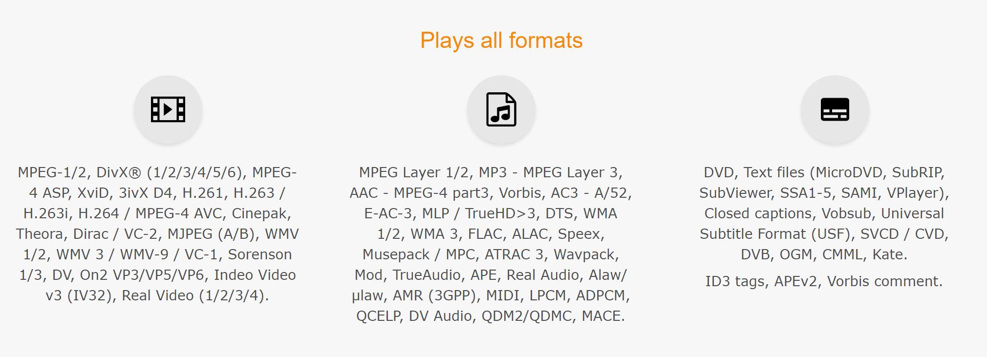 VLC支持文件格式